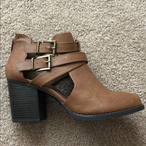 Brown heeled booties with straps